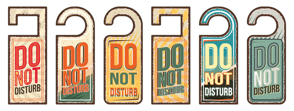 Do not disturb vintage style hand drawn sings set