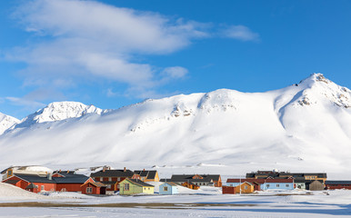 Ingelijste posters Noord Europa Ny Alesund in Svalbard is the most northerly civilian settlement in the world