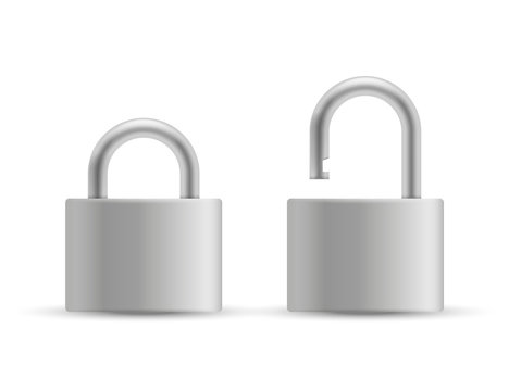 Set of realistic Padlocks isolated on white background. Vector illustration.