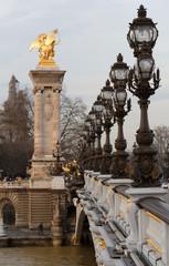 The bonze lamps on famous Alexander III Bridge.