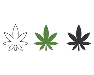 Cannabis leaf icon, vector illustration isolated on white background