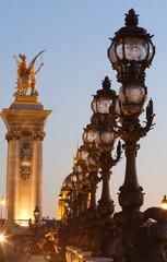 The bonze lamps on famous Alexander III Bridge in evening, Paris.