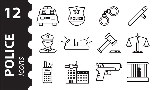 Police icons in modern flat style. A set of vector linear symbols.