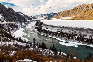 Top view of the winter river Katun, Altai Republic, Russia