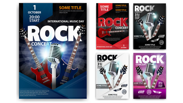 Rock concert, set of poster templates for your creativity. Blue, red, pink, black and white rock posters with guitars and microphones isolated on a white background.
