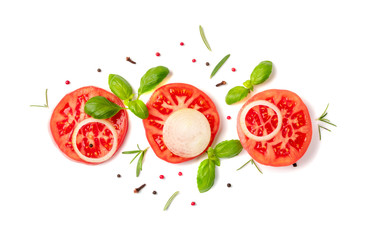 Sliced tomatoes and basil top view and flat lay Fototapete