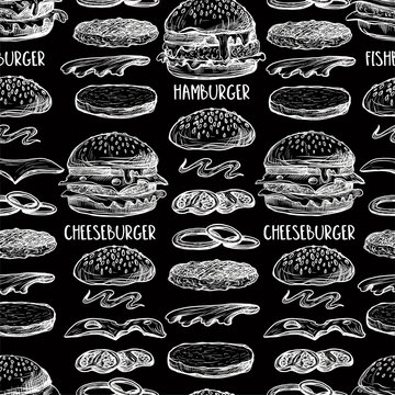 Seamless pattern with burgers in graphic style.