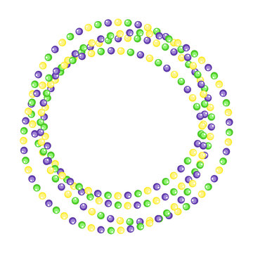 Mardi Gras beads circle jewelry border strings isolated on white background. Vector illustration
