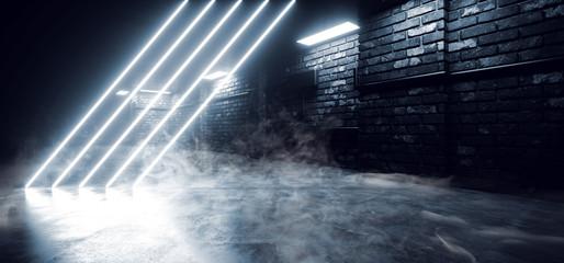 Smoke Modern Neon Laser Futuristic Sci Fi Brick Garage Grunge Concrete Cement Basement Tunnel...