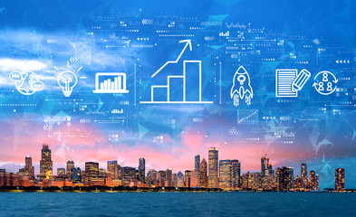 Business growth analysis with downtown Chicago cityscape skyline with Lake Michigan