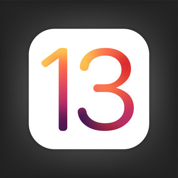 13 logo icon isolated on dark grey background. Anniversary multicolor icon. Vector illustration