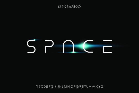 space, an Abstract technology futuristic alphabet font. digital modern minimalist typography vector illustration design