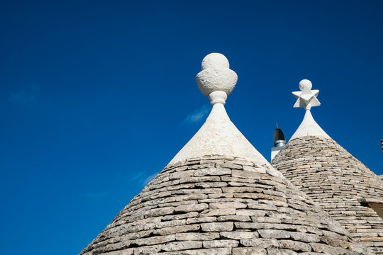roof of the traditional houses (trulli) in Unesco village Alberobello, Italy