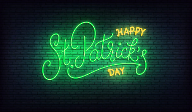 Saint Patrick's Day neon. Happy St. Patrick's day lettering glowing green sign. Patricks Day Irish holiday