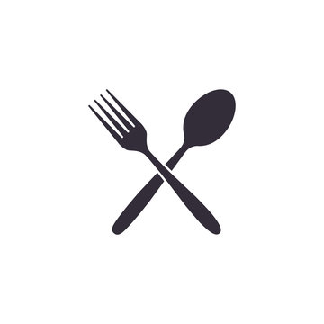 Crossed fork and spoon icon, Vector isolated flat design illustration