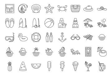 Set summer beach icons outline styles. Summer vacation and outdoor on the beach stuff line elements for web.
