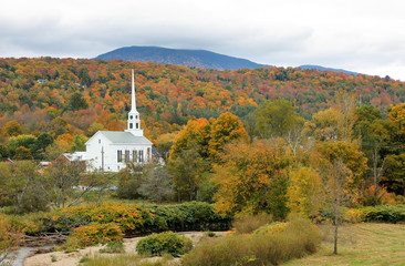 Overlooking a peaceful New England Village in the autumn, Stowe, Vermont, USA