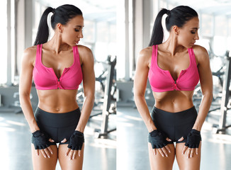 Fitness woman doing stomach vacuum for flat belly in gym. Beautiful athletic girl with slim waist,...