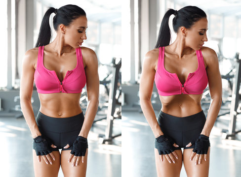 Fitness woman doing stomach vacuum for flat belly in gym. Beautiful athletic girl with slim waist, shaped abdominal