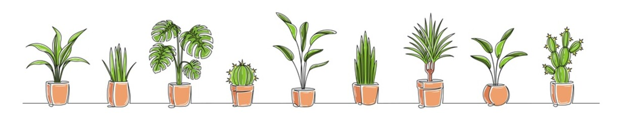Set of continuous one line drawing of a flowers in a pots