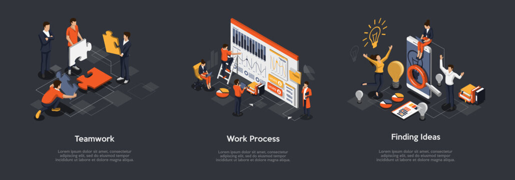 Isometric Set Of Teamwork Process, Work Process And Finding Ideas Concept. 3d Isometric Illustration Of Digital Marketing And Development. Vector illustration