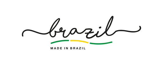 Made in Brazil handwritten calligraphic lettering logo sticker flag ribbon banner