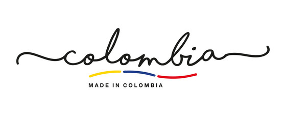 Made in Colombia handwritten calligraphic lettering logo sticker flag ribbon banner