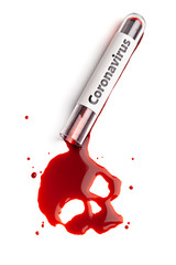 Macro coronavirus infected blood flowing from test tube and forming skull shape on white background.  Epidemic Mers-CoV Coronavirus researching and treatment concept.