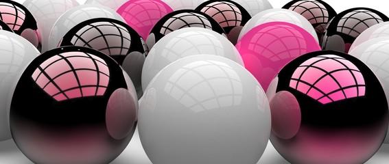 Diseño abstracto de esferas tridimensionales. ilustración realista en 3d de bolas metálicas y plásticas para presentación.
