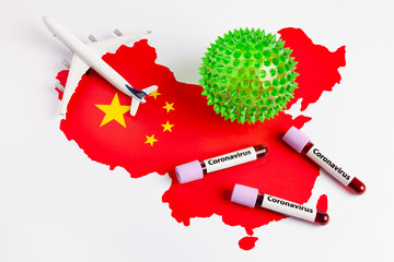 Coronavirus blood sample in test tubes, virus cell and plane figure on china map. Plane taking off from china map. Epidemic Mers-CoV Coronavirus researching and treatment concept.