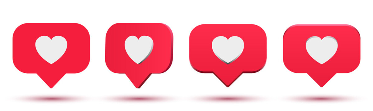 Set social media like, comment 3d cartoon illustration, rating, followers feedback, speech bubble with heart isometric design element, SMM, blogging flat clipart – stock vector