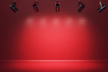 Foto op Canvas Licht, schaduw Illuminated red stage with spotlight