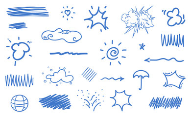 Infographic elements isolated on white background. Colored geometric shapes. Abstract clouds. Hand drawn set