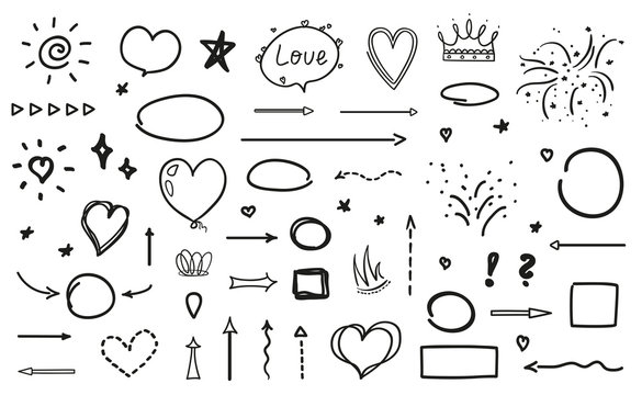 Black outlined elements. Signs and symbols on isolation background. Sketchy doodles on white. Hand drawn infographic elements for holiday