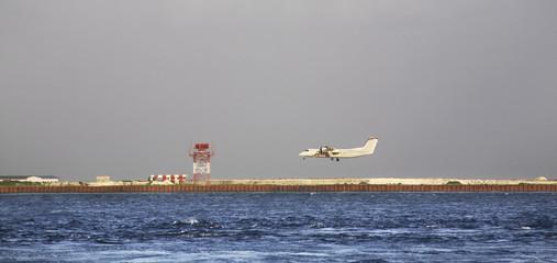 HULHULE. REPUBLIC OF MALDIVES. 22 JANUARY 2014 : Ibrahim Nasir International Airport. Hulhule. Republic of the Maldives