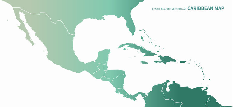 graphic vector of caribbean countries  map. central america countries map.