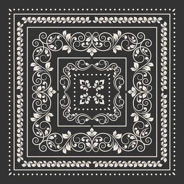 Square frame set template. Bandana with vintage ornament