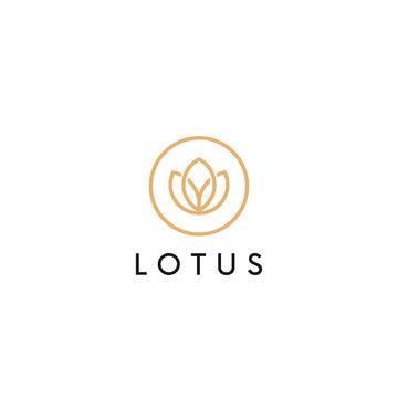 Linear lotus logo vector design. Flower circle icon. Yoga logotype.