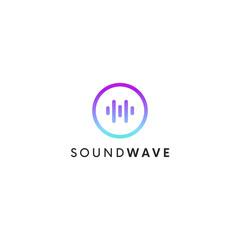 Simple sound dj logo sign. Audio wave icon.