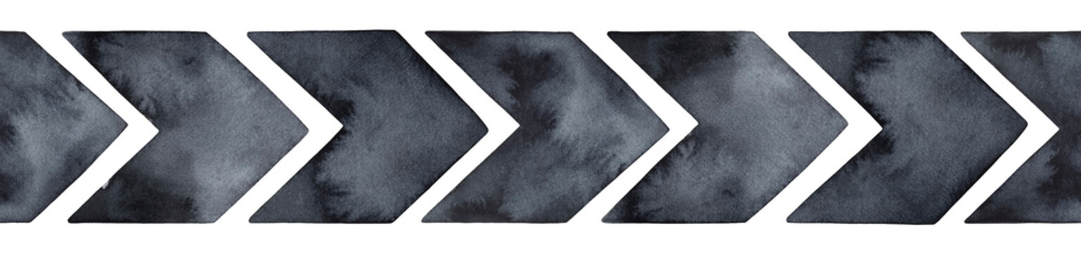Seamless repeatable border of grungy arrow signs with artistic brush strokes, washes and stains. Hand painted watercolour drawing, cut out elements for design decoration, banner, label, header, title.