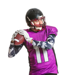 American football player on white background