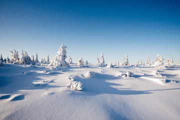 winter landscape Polish mountains Giant Mountains shelter