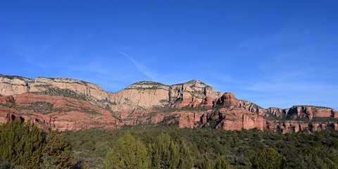 Red rock country in western Sedona, Arizona on clear cloudless winter afternoon.