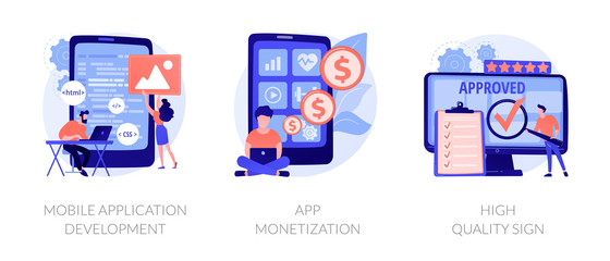 Wall Mural - Smartphone software, profit receiving, successful rating icons set. Mobile application development, app monetization, high quality sign metaphors. Vector isolated concept metaphor illustrations
