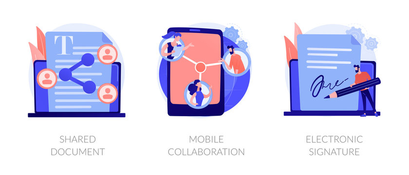 Digital documentation, remote colleagues connection, contract signing icons set. Shared document, mobile collaboration, electronic signature metaphors. Vector isolated concept metaphor illustrations