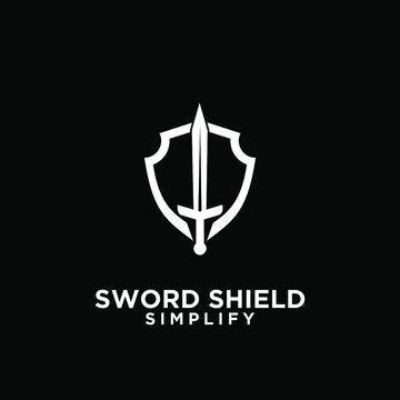 black sword and shield logo icon design vector with dark background