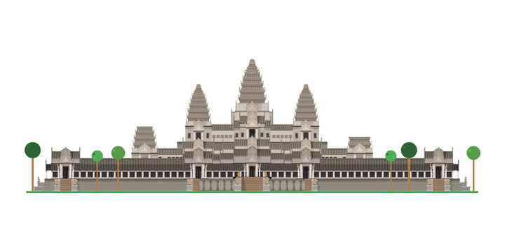 Angkor Wat (Cambodia). Isolated on white background vector illustration.