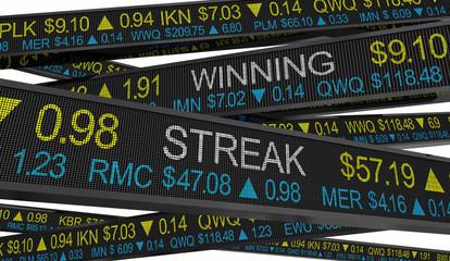 Winning Streak Stock Market Performance Gains Winner 3d Illustration