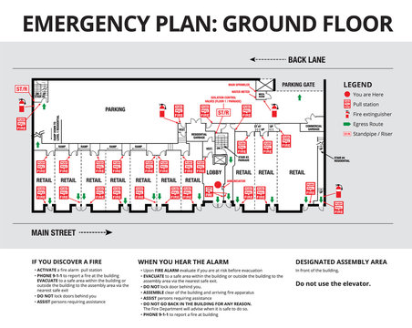 Emergency plan or egress plan. Plan of a residential or strata building with retail stores and parking on ground floor. Detailed text instruction for residents in case of an emergency.