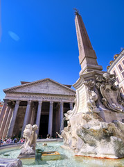 The exterior of The Pantheon located in Rome, Italy.